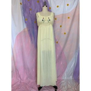 VINTAGE 1970s Floral Embroidered Yellow Slip Dress